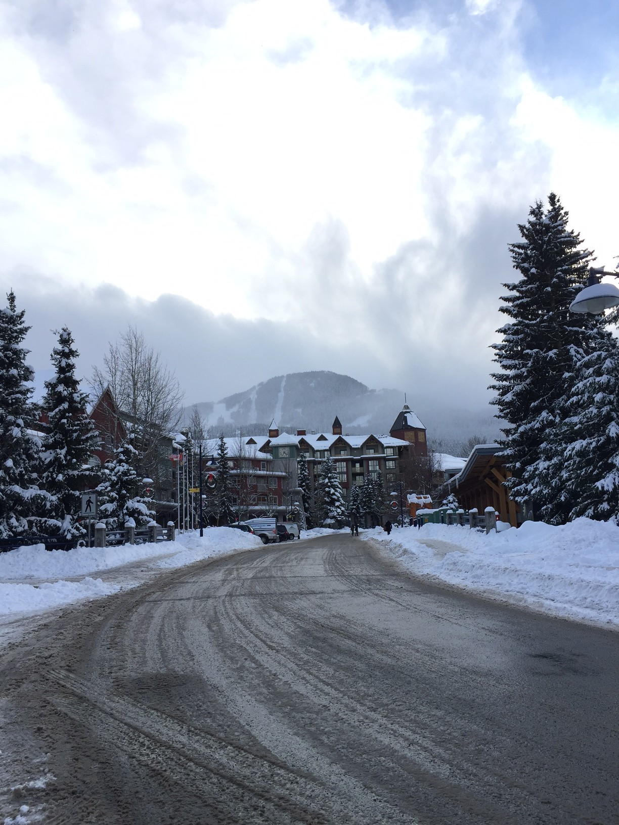 The road leading to Whistler Village, the central neighbourhood of the town of Whistler and Blackcomb Mountains.