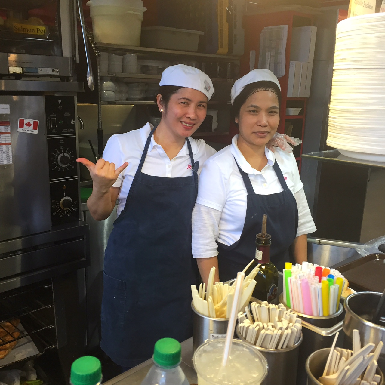 Look who I bumped into. Two charming Filipina ladies serving the most delicious clam chowders I've ever had.